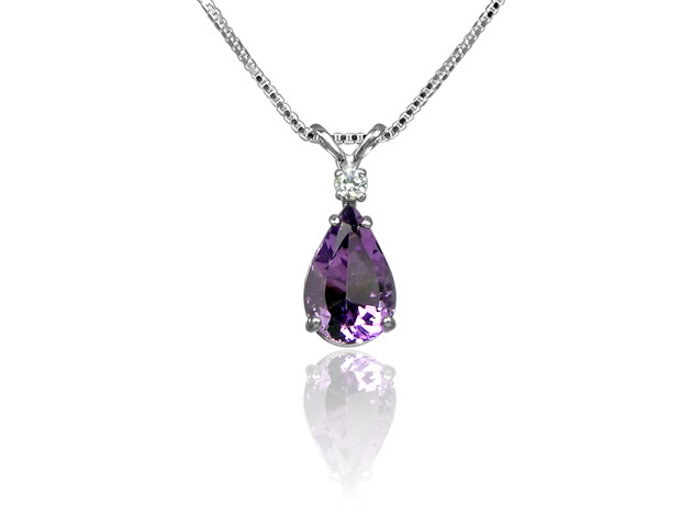 Amethyst and CZ Pendant in Sterling Silver