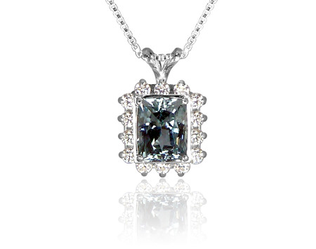 Deep Blue Untreated Topaz and CZ Pendant in Sterling Silver