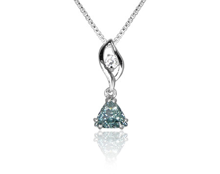 Blue Topaz and CZ Pendant in Sterling Silver