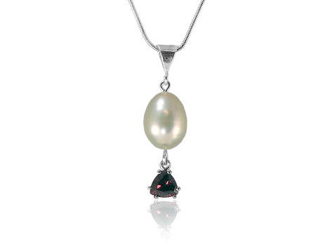 Freshwater Pearl and Garnet Pendant in Sterling Silver