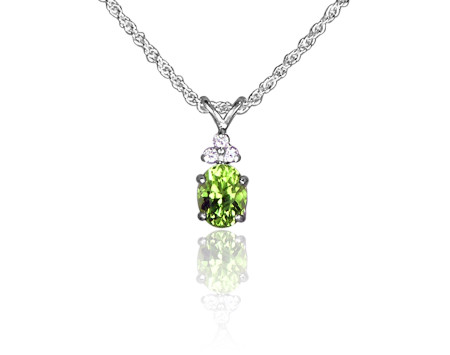 Peridot and CZ Pendant in Sterling Silver