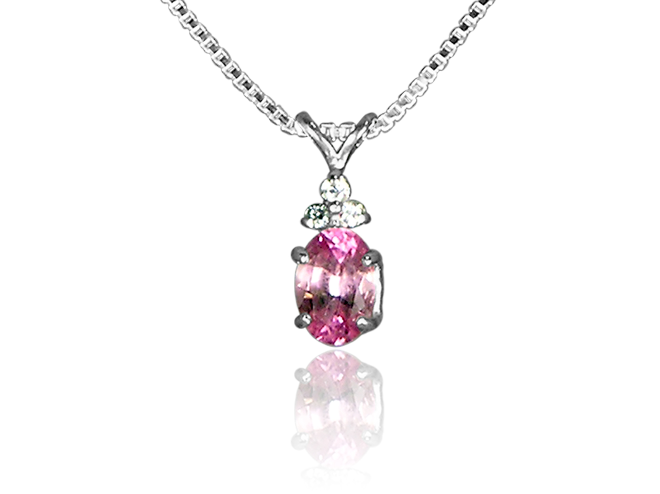Pink Tourmaline and CZ Pendant in Sterling Silver