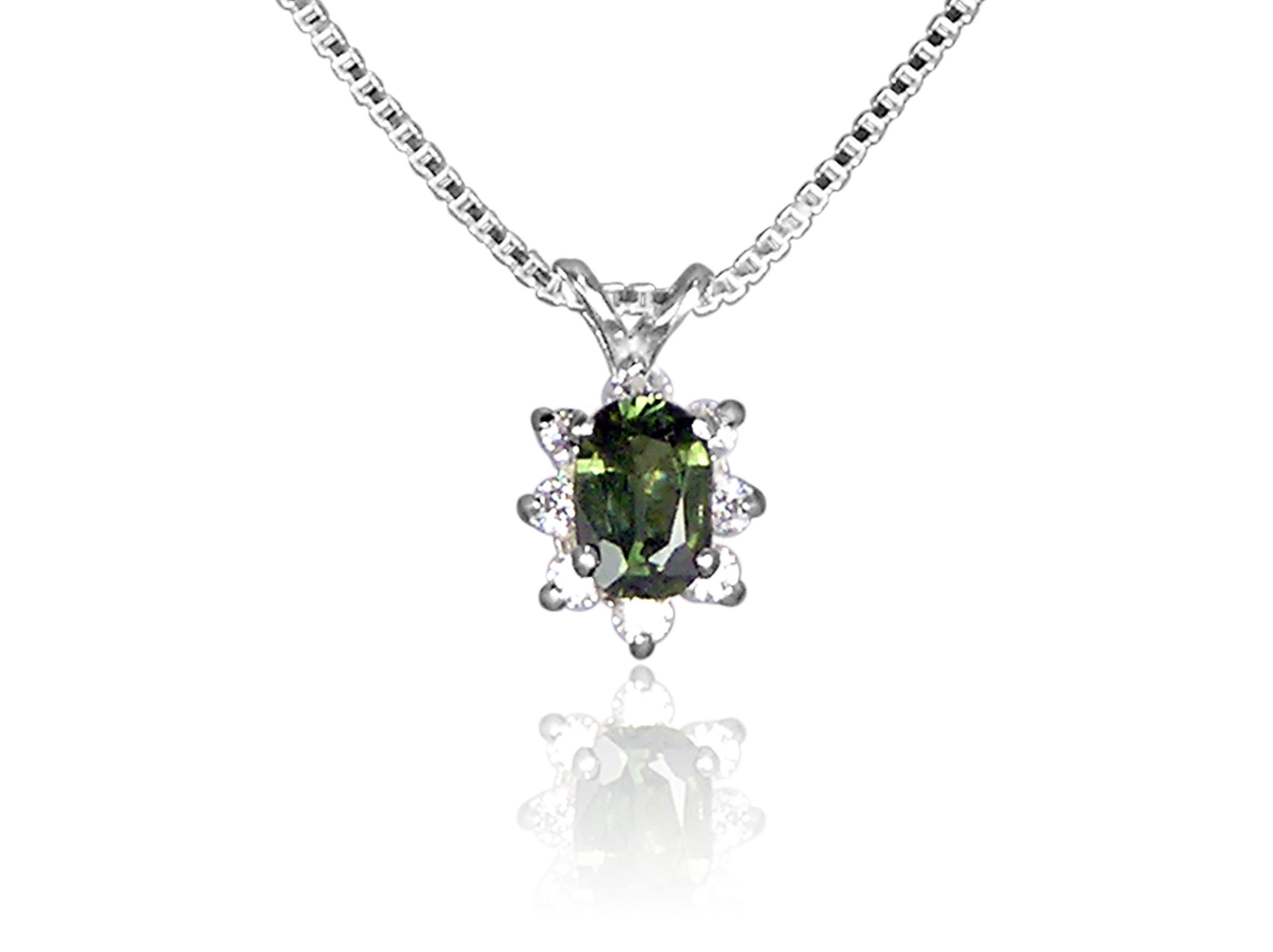 Green Sapphire and CZ Pendant in Sterling Silver