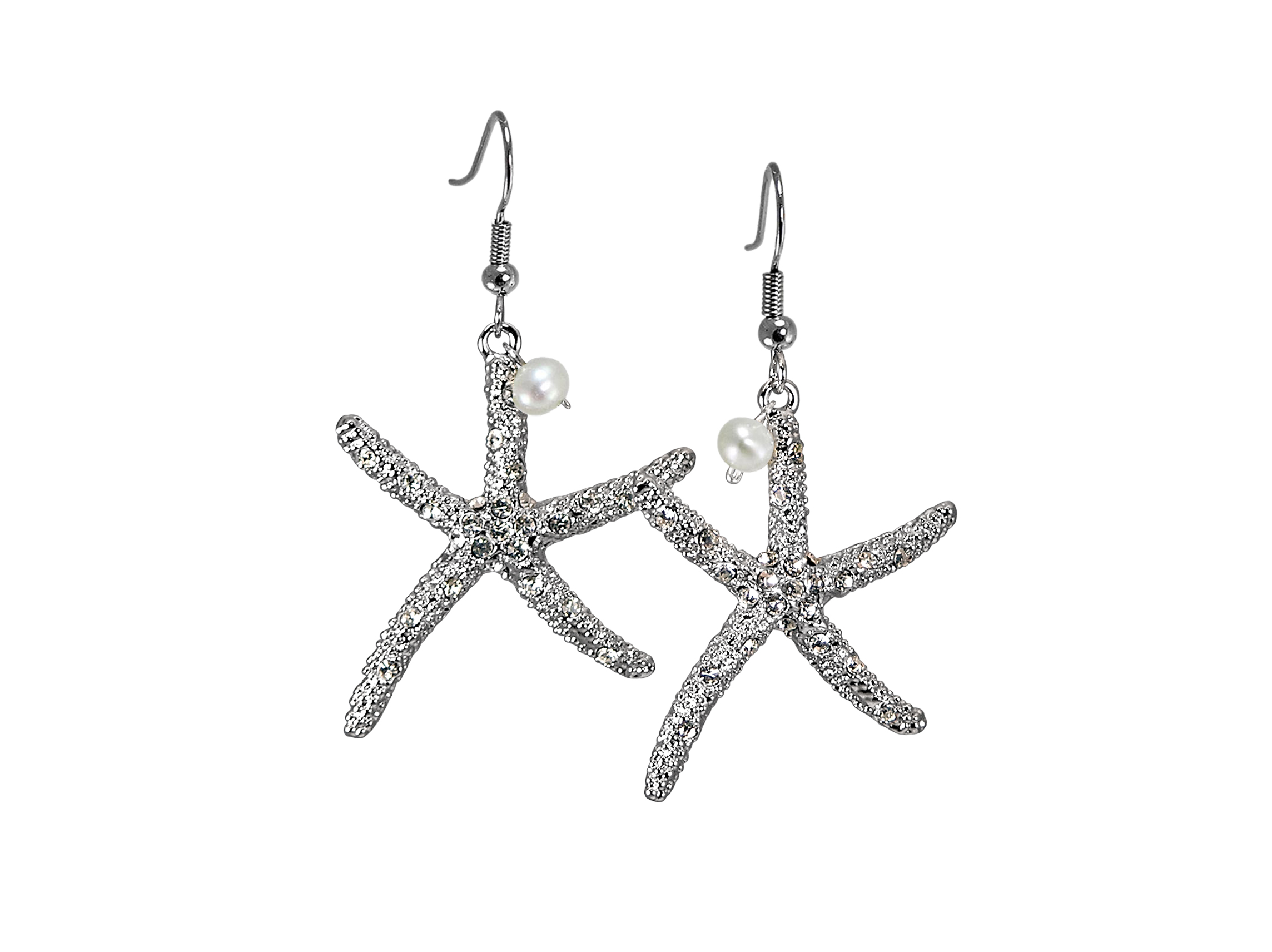 Large Crystal Starfish Earrings