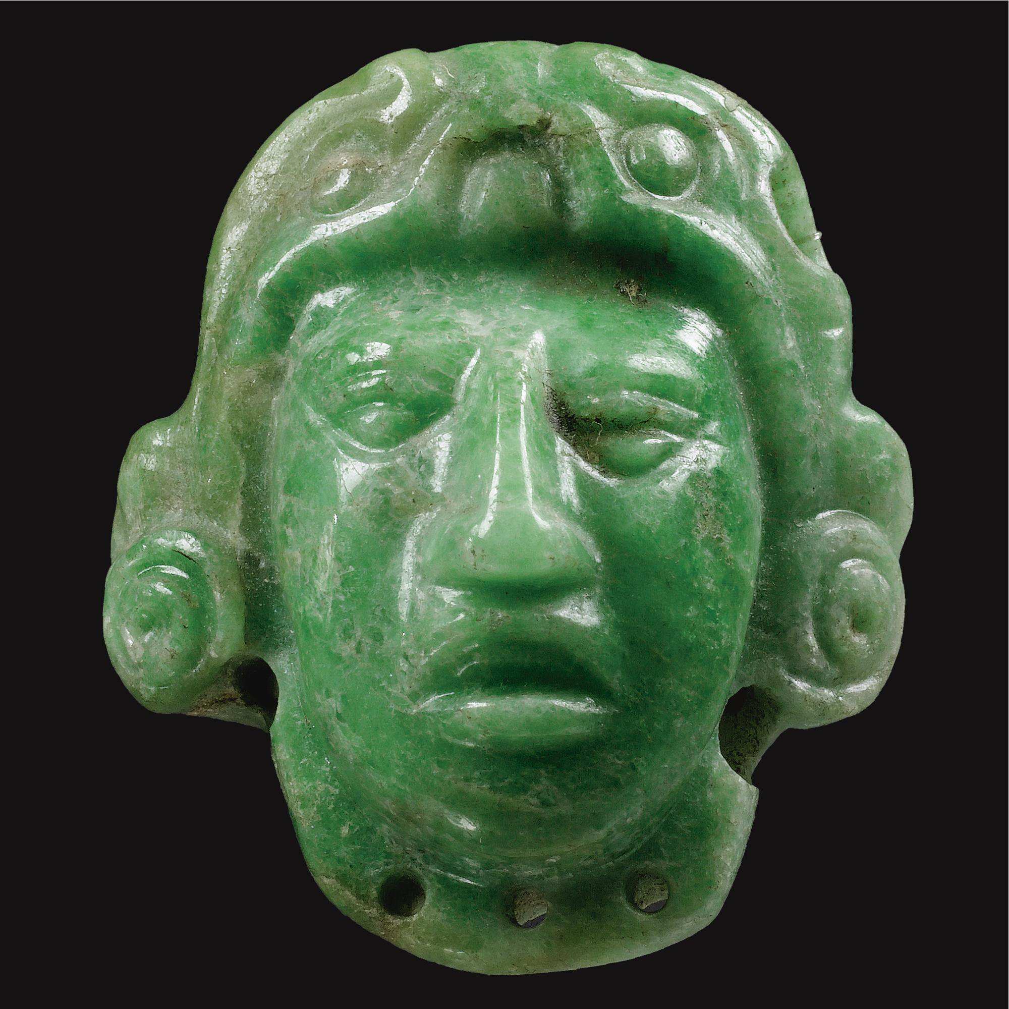 Mayan jade head sculpture.