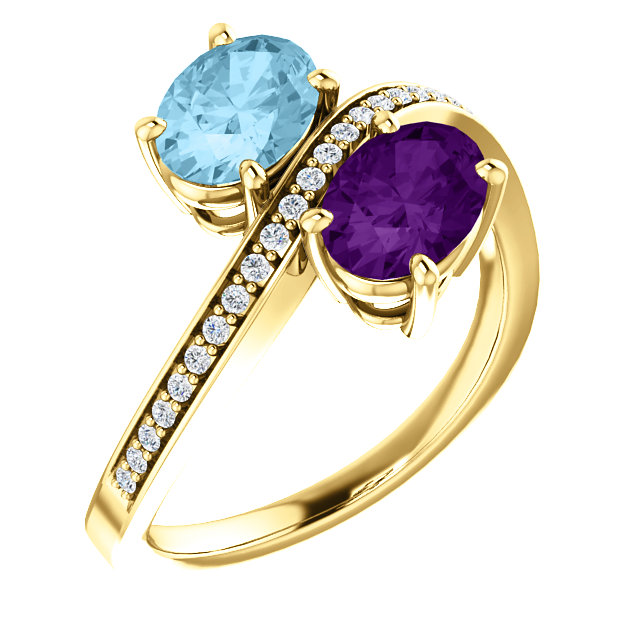 An example of a his and hers birthstone ring. This design features Amethyst (February's birthstone) and Auqamarine (March's birthstone.)