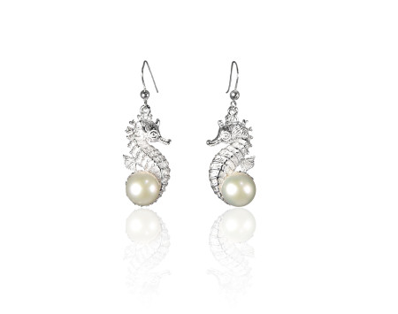 Atlantis Collection Seahorse and Freshwater Pearl Earrings