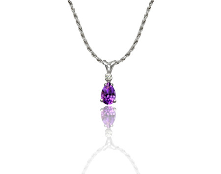 Small Amethyst Pendant with CZ in Sterling Silver