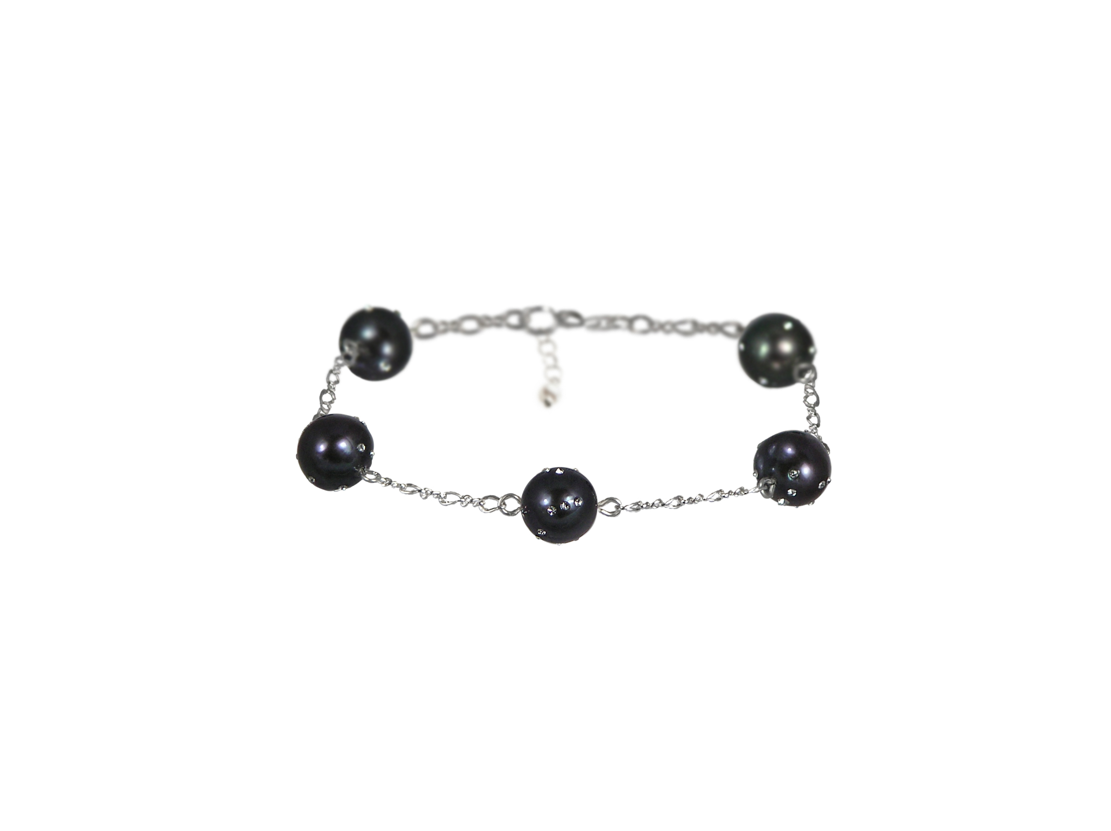 Black freshwater pearl constellation bracelet in Sterling silver.