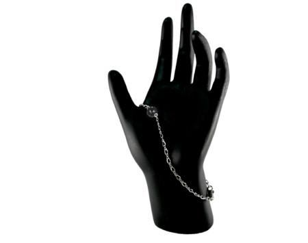 Black freshwater pearl constellation bracelet in Sterling silver