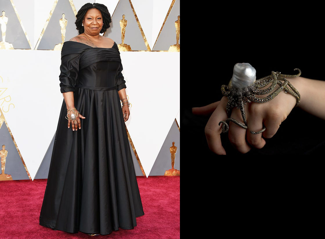 Left: The lovely Whoopi Goldberg wearing an amazing statement bracelet! The octopus bracelet she is wearing and the bracelet pictured on the right were designed by Sevan Bicakci.