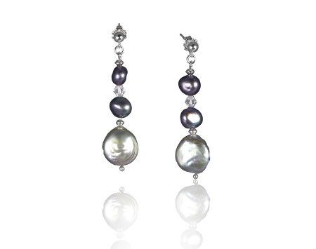 Gunmetal Grey Freshwater Coin Pearl Earrings
