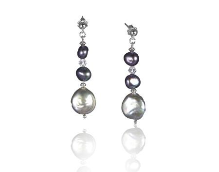 Gunmetal Grey Freshwater Coin Pearl Earrings