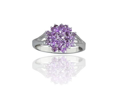 Amethyst and Sterling Silver Cluster Ring