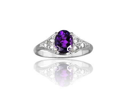 Amethyst and Silver Filigree Scrollwork Ring