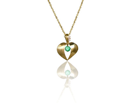 Emerald and 14k Heart Pendant