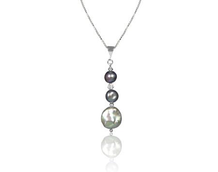 Vertical Gunmetal Grey Freshwater Pearl Pendant