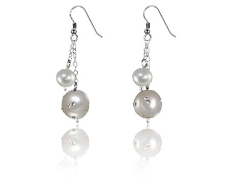 White freshwater pearl constellation earrings in Sterling silver.