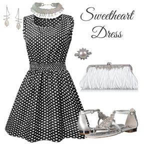 Sweetheart dress styled with pearls and crystal accessories