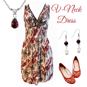 Styling a V-Neck Sundress with Pearl and Garnet Jewelry and Accessories