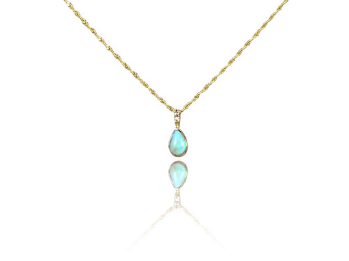 Opal pendant in 14k Gold with diamond bail