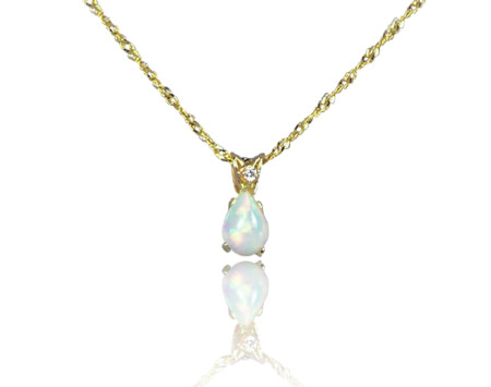 Opal pendant with 14k gold chain and diamond enhanced bail