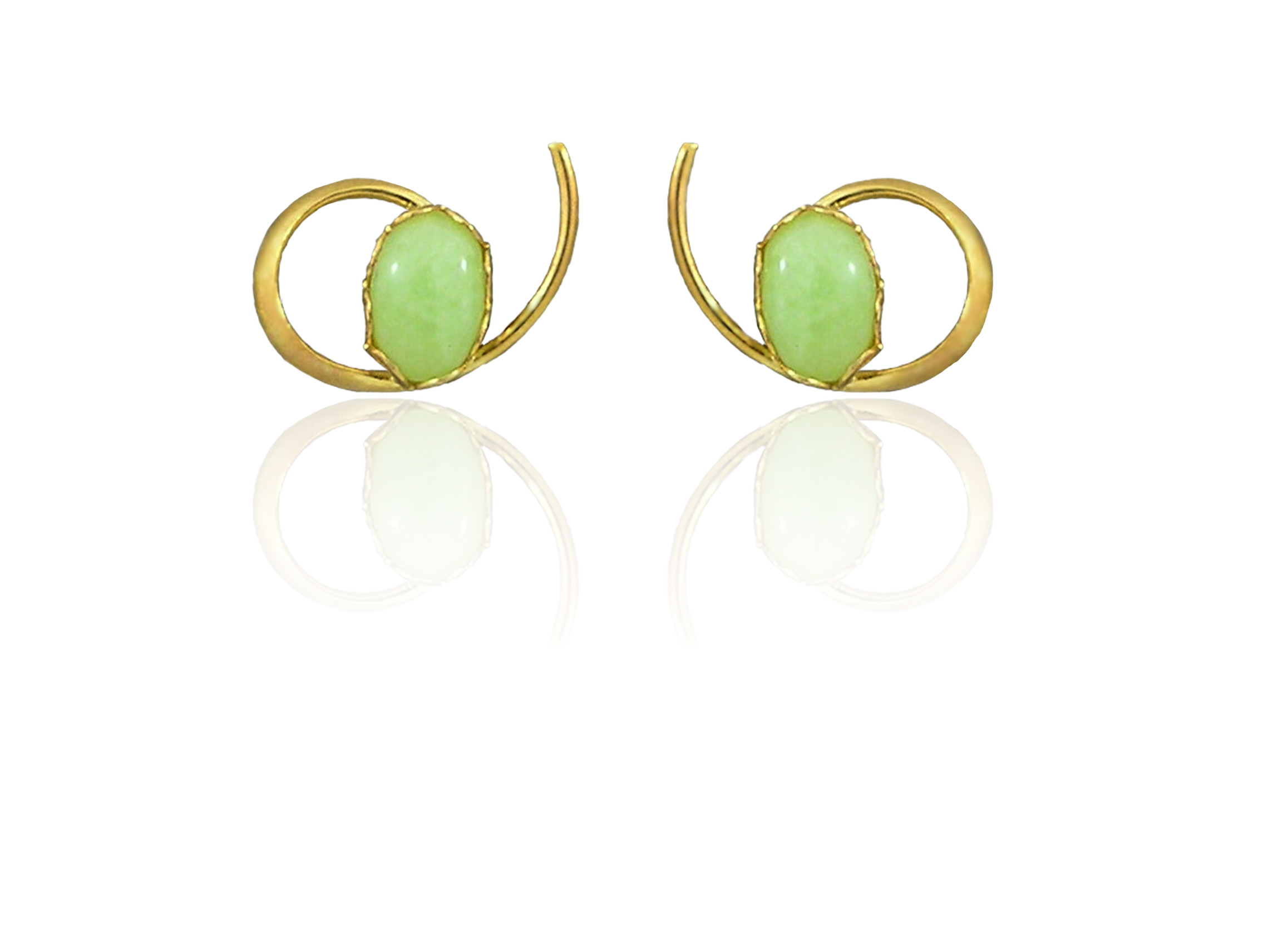 "Idocrase ""Aztec Jade"" Earrings in 14k Gold"
