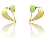 "Idocrase ""Aztec Jade"" Earrings in 14k Yellow Gold"