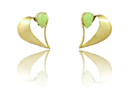 "Idocrase ""Aztec Jade"" Earrings in 14k Yellow Gold"
