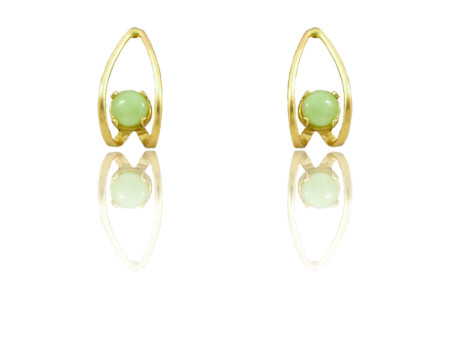 "14k Gold Idocrase ""Aztec Jade"" Earrings"