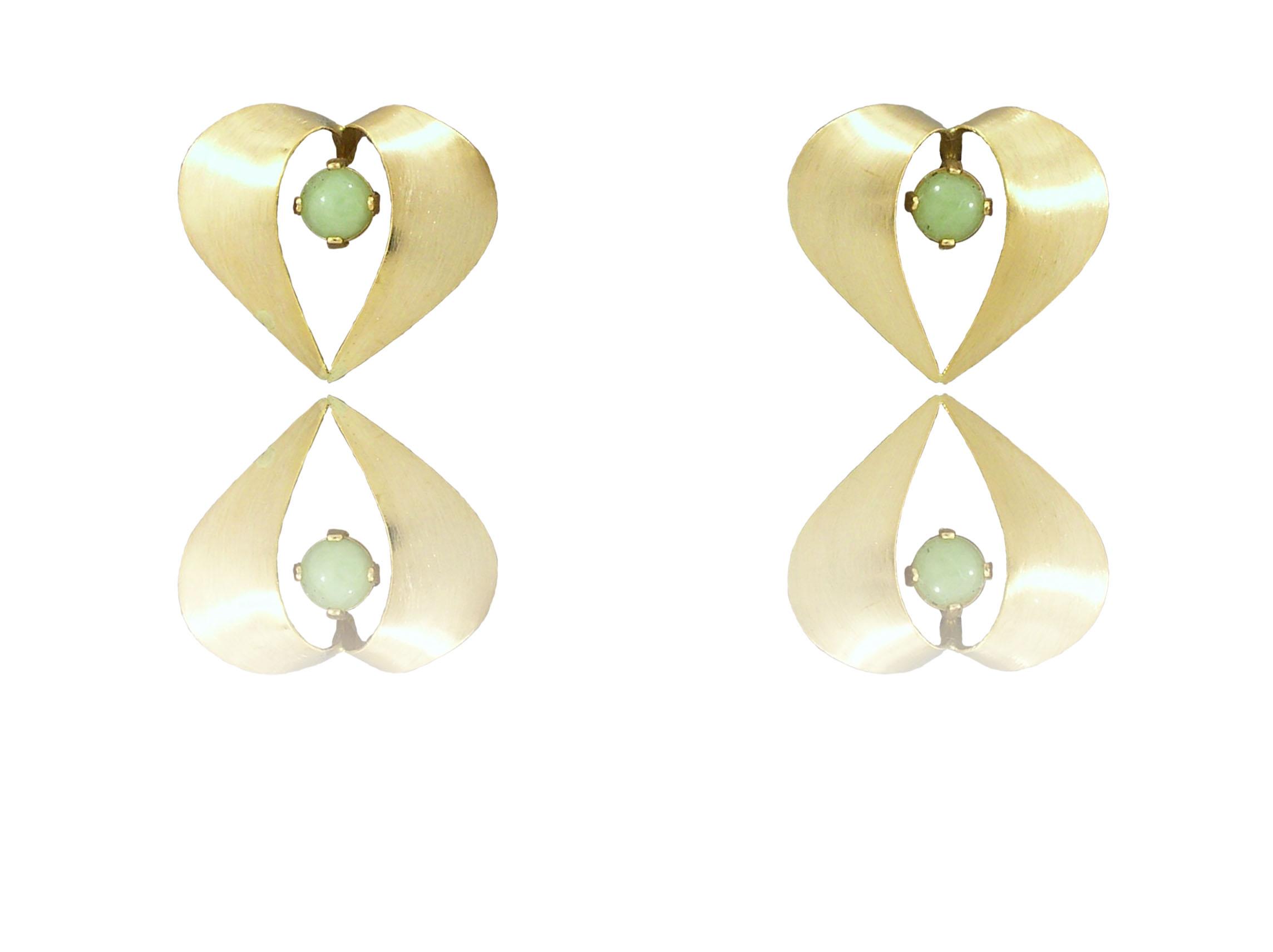 "14k Gold Idocrase ""Aztec Jade"" Earrings"