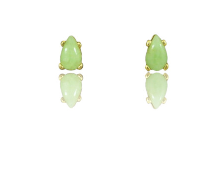 "14k Gold Teardrop Shaped Idocrase ""Aztec Jade"" Earrings, Available in Three Sizes."