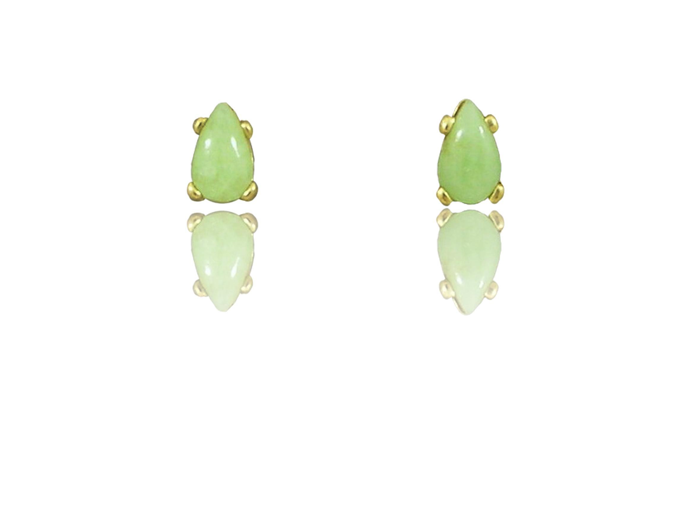 14k Gold Teardrop Shaped Idocrase Aztec Jade Earrings Available In Three