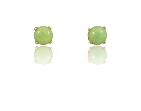 Round Idocrase Cabochon Stud Earrings in 14k Gold