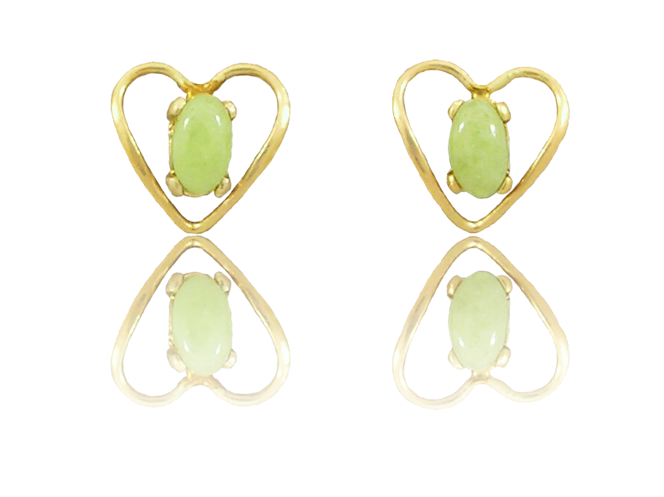 "14k Gold Heart Shaped Idocrase ""Aztec Jade"" Earrings"