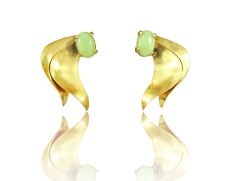 "Gold Petal Design Idocrase ""Aztec Jade"" Earrings in 14k Yellow"