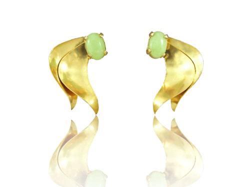 "Gold Petal Design Idocrase ""Aztec Jade"" Earrings in 14k Yellow"