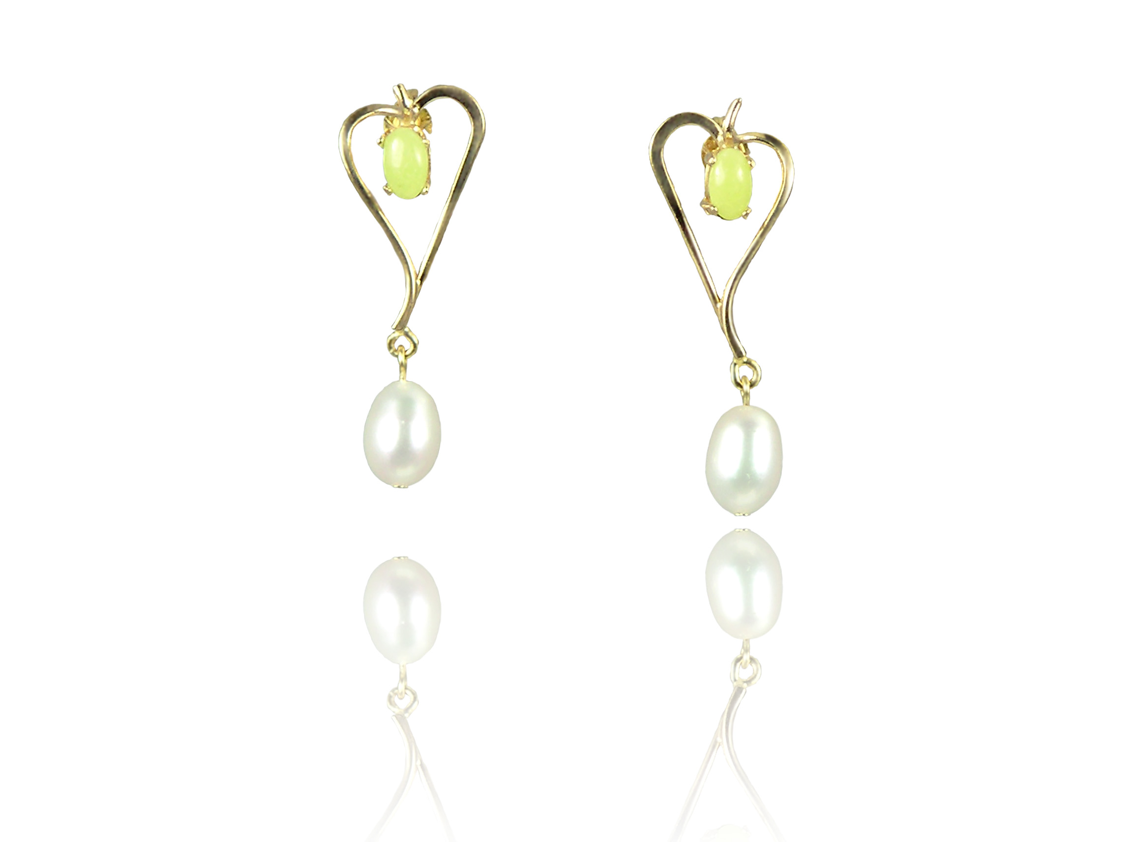 "Idocrase ""Aztec Jade"" and Oval Freshwater Pearl Earrings in 14k Gold"