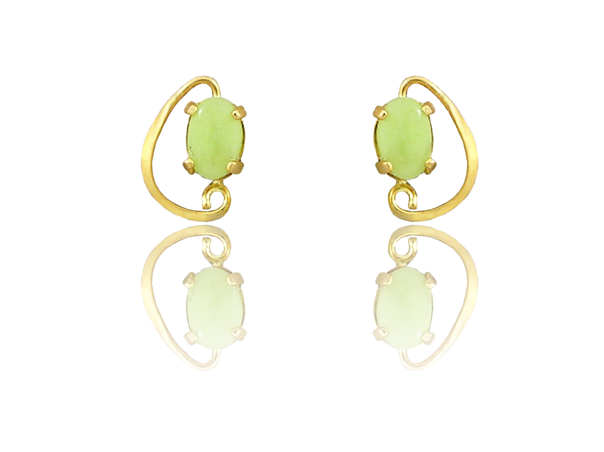"14K Yellow Gold Idocrase ""Aztec Jade"" Earrings"